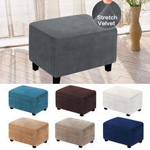 Slipcovers Footstool-Protector Footrest Ottoman Velvet Rectangle Sofa Washable