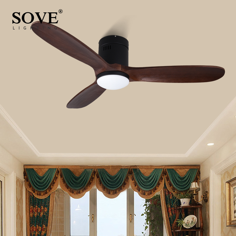 SOVE 48 Inch Brown Vintage Wooden Ceiling Fan With Light Ceiling Fan Wood Decorative Home Retro Fans+lamp Remote Control 220V