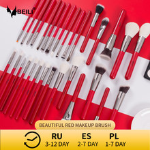 BEILI Red Natural Makeup Brushes Set 11-30pcs Foundation Blending Powder Blush Eyebrow Professional Eyeshadow Make up Brushes
