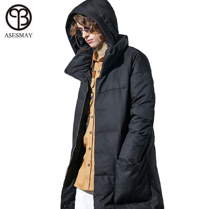 Asesmay Brand Men's 'winter Jackets White Duck Down Coats Thick Goose Feather Parkas Casual Long Winter Male Coat Hooded Outwear