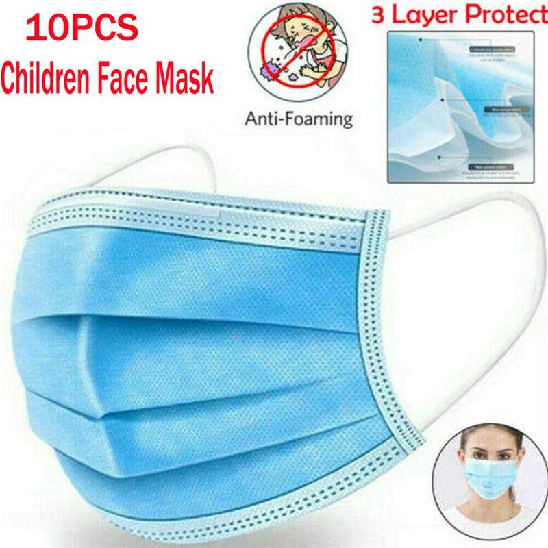 10PCS Children Face Masks 3 Layer Elastic Mouth Mask Anti-Flu Kids Disposable Mask Soft Breathable PM2.5 Nonwoven White Blue Hot