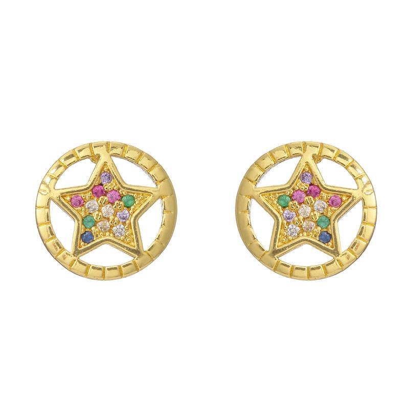 Hot Sale Round Star Stud Earrings For Women Gold Color Cute Earring Jewelry Femme Bijoux Gift For Girlfriend
