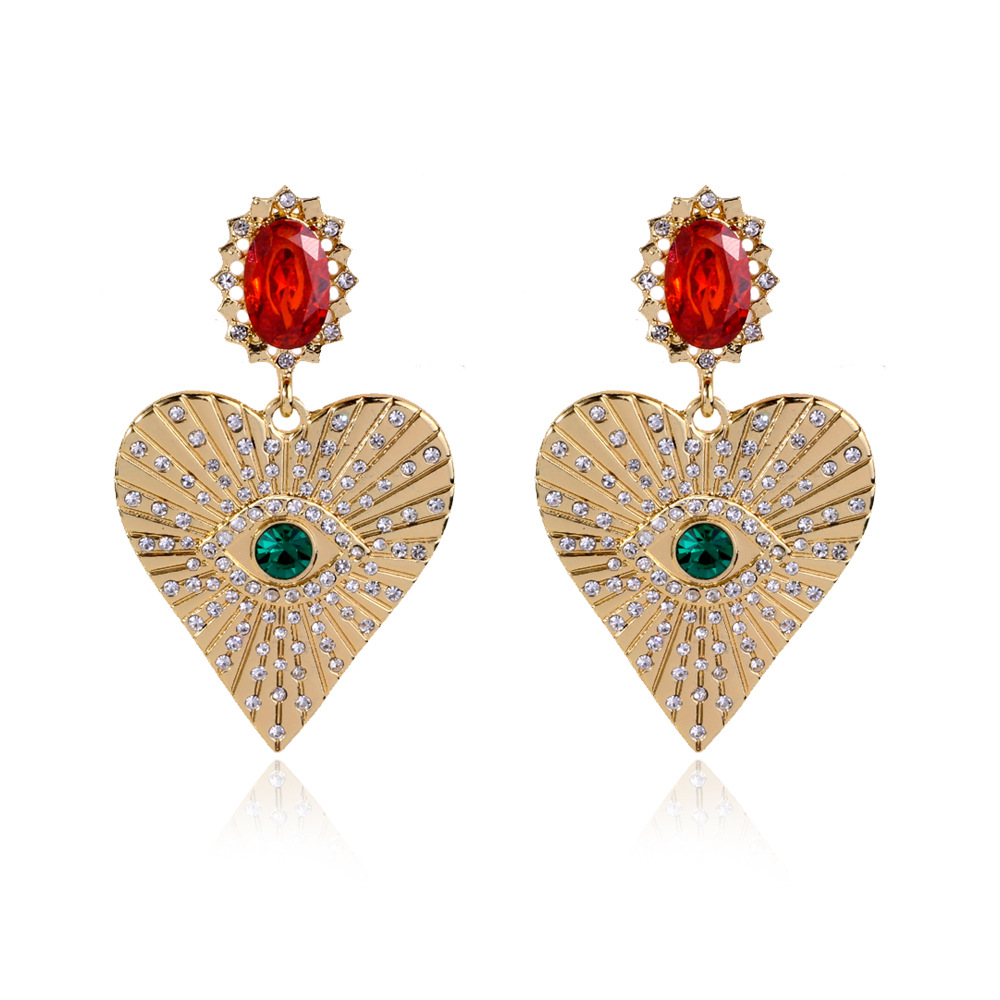 Luxury Gold All-Seeing Eye Drop Earrings for Women Big Red Crystal Earrings Love Heart Evil Eye Dangle Earrings Fashion Jewelry image