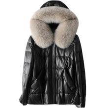 Black Fox Hair Hooded Down Jacket Woman Parkas Winter Natural Sheepskin Fur Autumn Coat Genuine Leather Outwear Female Jacket