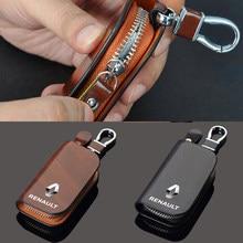 Car logo key case for Renault Dacia Sandero Tuning Car leather protective key case creative remote control key case Auto parts
