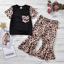 Летняя леопардовая футболка для маленьких девочек от 6 месяцев до 5 лет+ штаны Детский комплект из 2 предметов