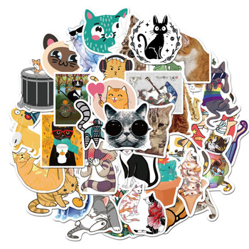 10/30/50/100pcs Cartoon Cute Cat Waterproof Stickers Car Stickers Luggage Trolley Graffiti Stickers image