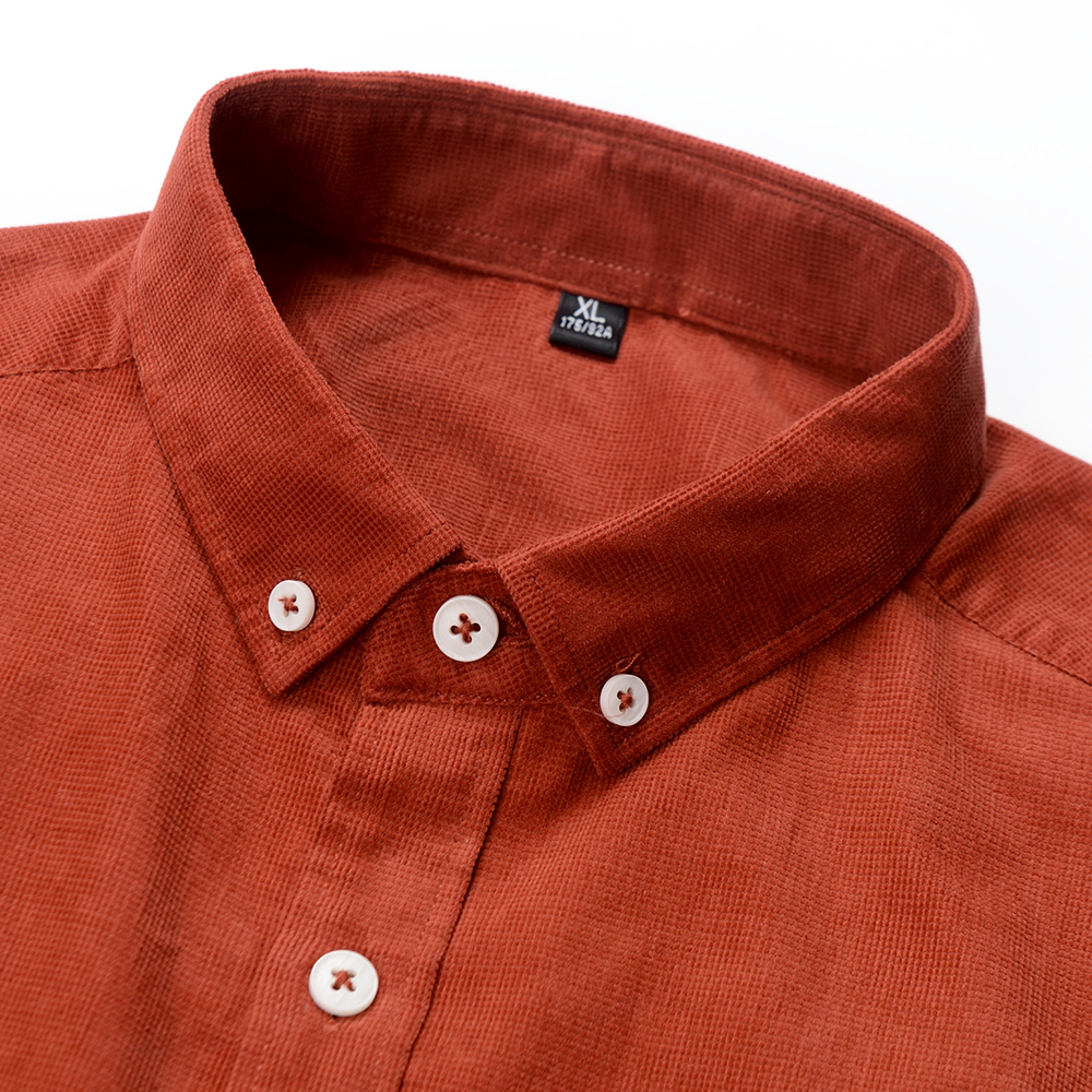 Casual Mens Corduroy Shirt Pure Cotton Long Sleeve Brown Thick Winter XXL Regular Fit New Model Male Button Down Shirts 2