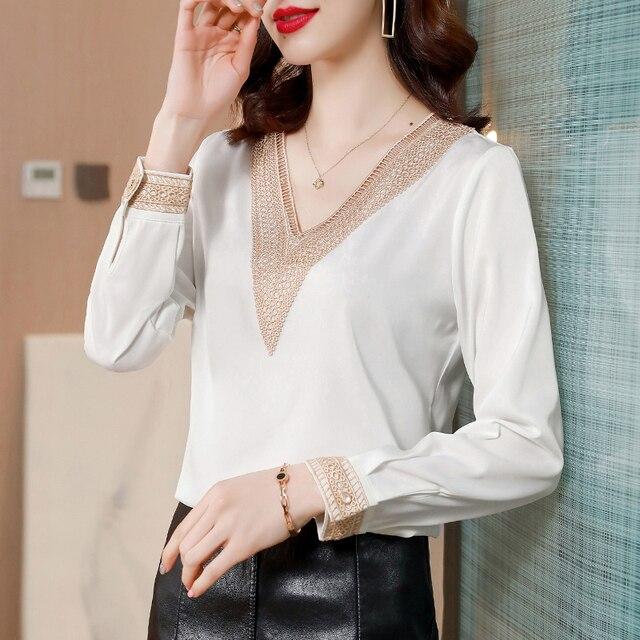 Blouses Femme Tops Women Long Sleeve Blouse Women Blusas Mujer De Moda 2021 V-Neck Solid Chiffon Blouse Shirt Blusas Mujer E653 3