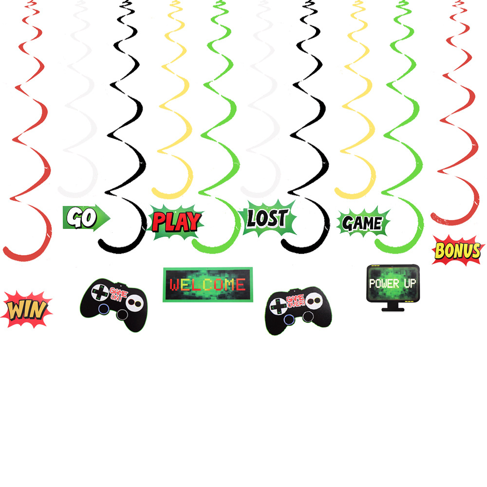 Video Game Party Theme Hanging Swirl Decorations DIY Spiral Ornaments for Kids Children Birthday Party Decorations Supplies image