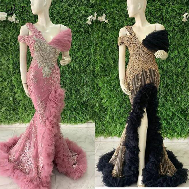 Elegant One Shoulder Appliques Long Black Prom Gown Fashion Beaded Mermaid Sexy Side Slit robe de soiree Evening Party Dresses