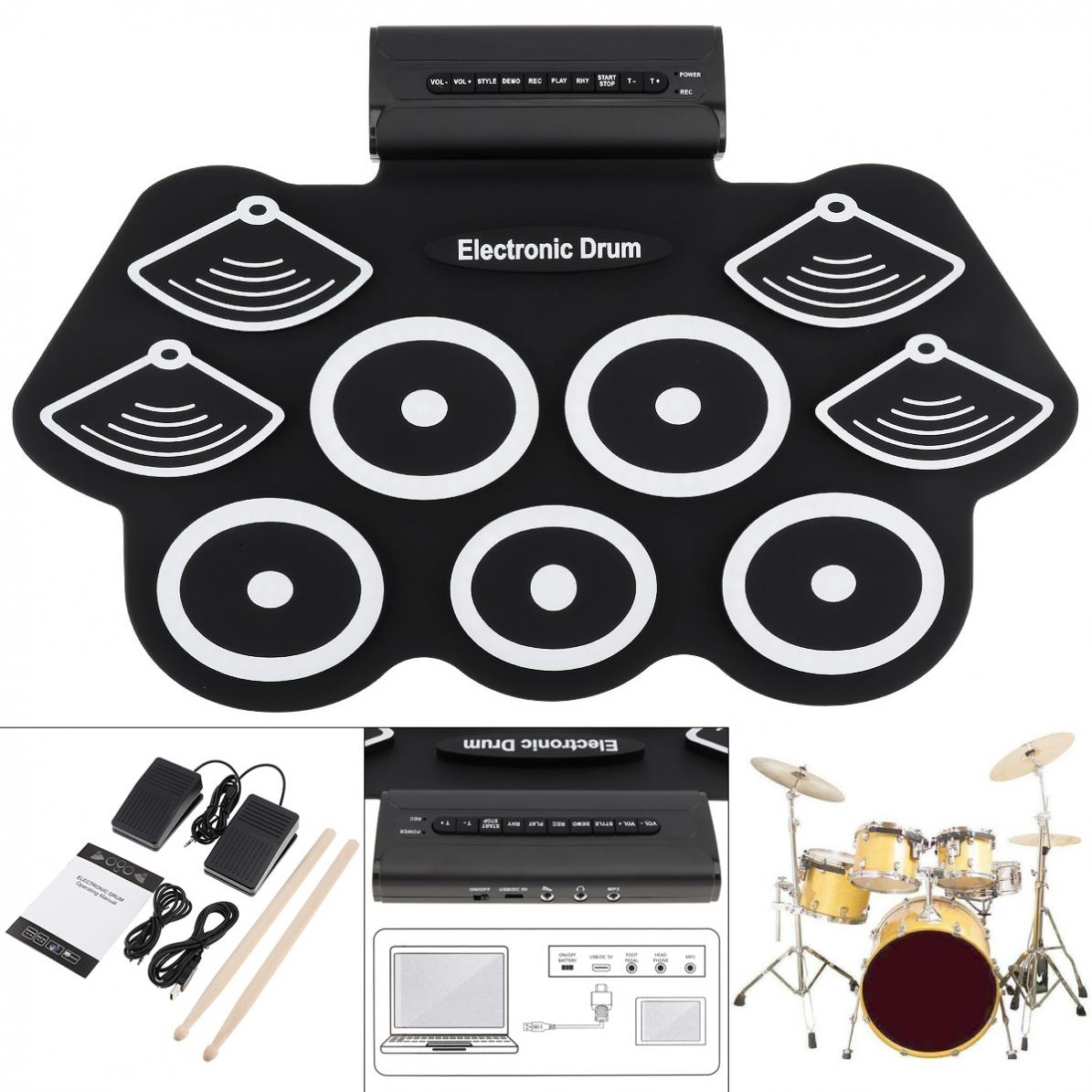 9 Pads Electronic Roll Up Thicken Silicone Drum Electric Drum Kit With Drumsticks & Sustain Pedal