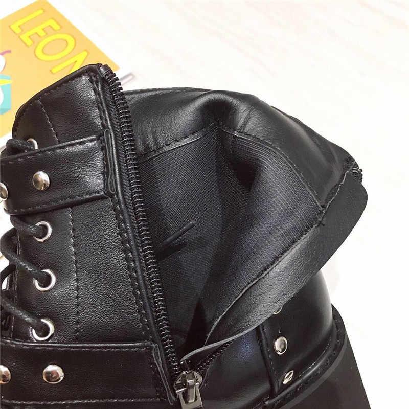 Pxelena Đinh Tán Khóa Nữ Gothic Giày Mùa Thu Giày Chunky Giày Cao Gót Nền Tảng Punk Chiến Đấu Xe Máy Biker Giày