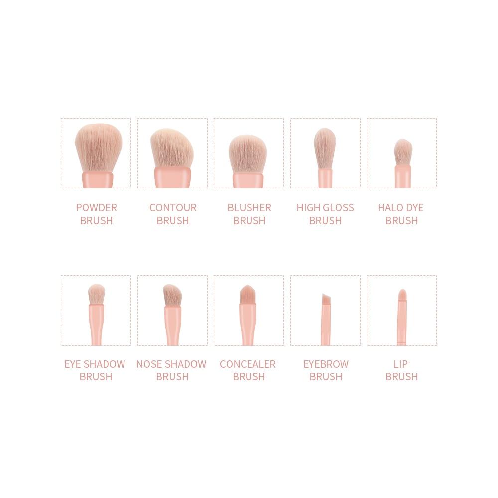 Набор кистей для макияжа gahamaca 10 шт оранжевые/розовые/синие/Зеленые