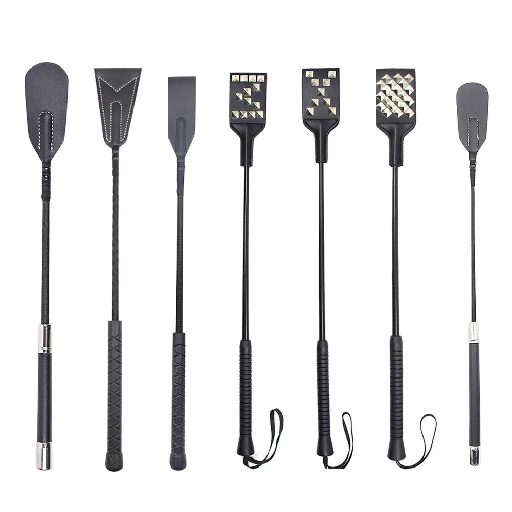 1pc Long Handle Faux Leather Riding Crops BDSM Bondage Spanking Paddle Whips Sex Toys for man Healthy and non-toxic sex product