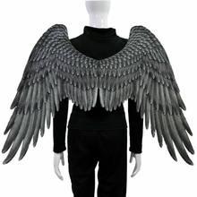 3D Angel Wings Halloween Mardi Gras Theme kostium imprezowy dekoracja cosplay duże czarne skrzydła diabeł akcesoria dla dorosłych dzieci
