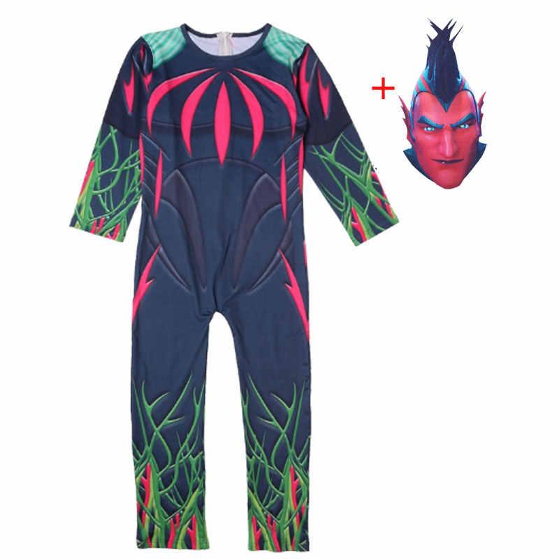 Flytrap Kulit Dekorasi Raven Anak Baju Cosplay Tahun Baru Kostum Pertempuran Royale Pesta Anak Lucu Pakaian Tengkorak Polisi
