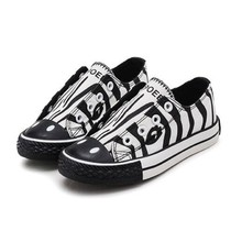 2019 boys canvas shoes with black and white stripes zebra style casual