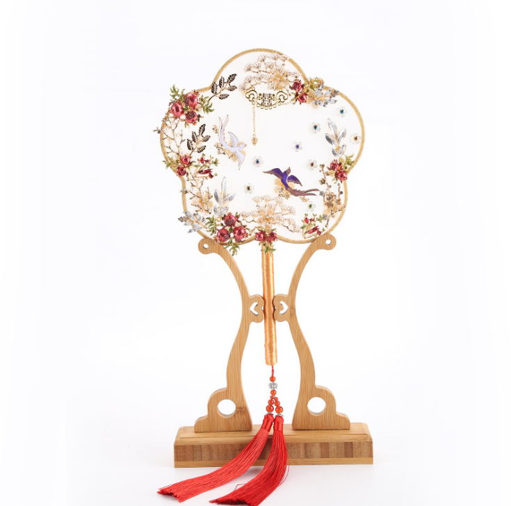 Exquisite Chinese Birds Palace Hand Fans Wedding Favors Creative Hanfu Photograph Dance Party Hand Held Fan Home Decor LF582