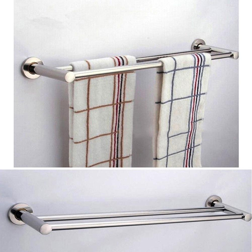 Wall Mounted Thick Stainless Steel Bathroom Towel Rack Shelf 1 Or 2 Rail Holder Toilet Bathroom Washroom Products 40/50/60cm