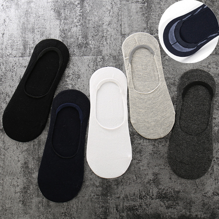 MEN'S Socks Summer Cotton Casual MAN'S Boat Socks Silica Gel Anti-slip Hidden Socks Solid Color MEN'S Socks