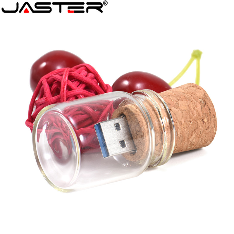 JASTER Glass Drift Bottle With Cork USB Flash Drive (transparent)pen Drive 4GB 16GB 32GB 64GB Fashion Gift 1PCS Free Custom Logo