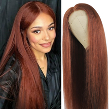 Straight Human Hair Lace Closure Wig Brazilian 4X4 Lace Closure Wigs For Women Auburn Brown 33 Remy Pre Plucked Lace Wigs 150%