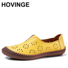 HOVINGEClassic Summer Yellow Slip-on Flats Women Loafers Casual Comfortable Leather Ladies Flats Casual 2020 Mocasines mujer