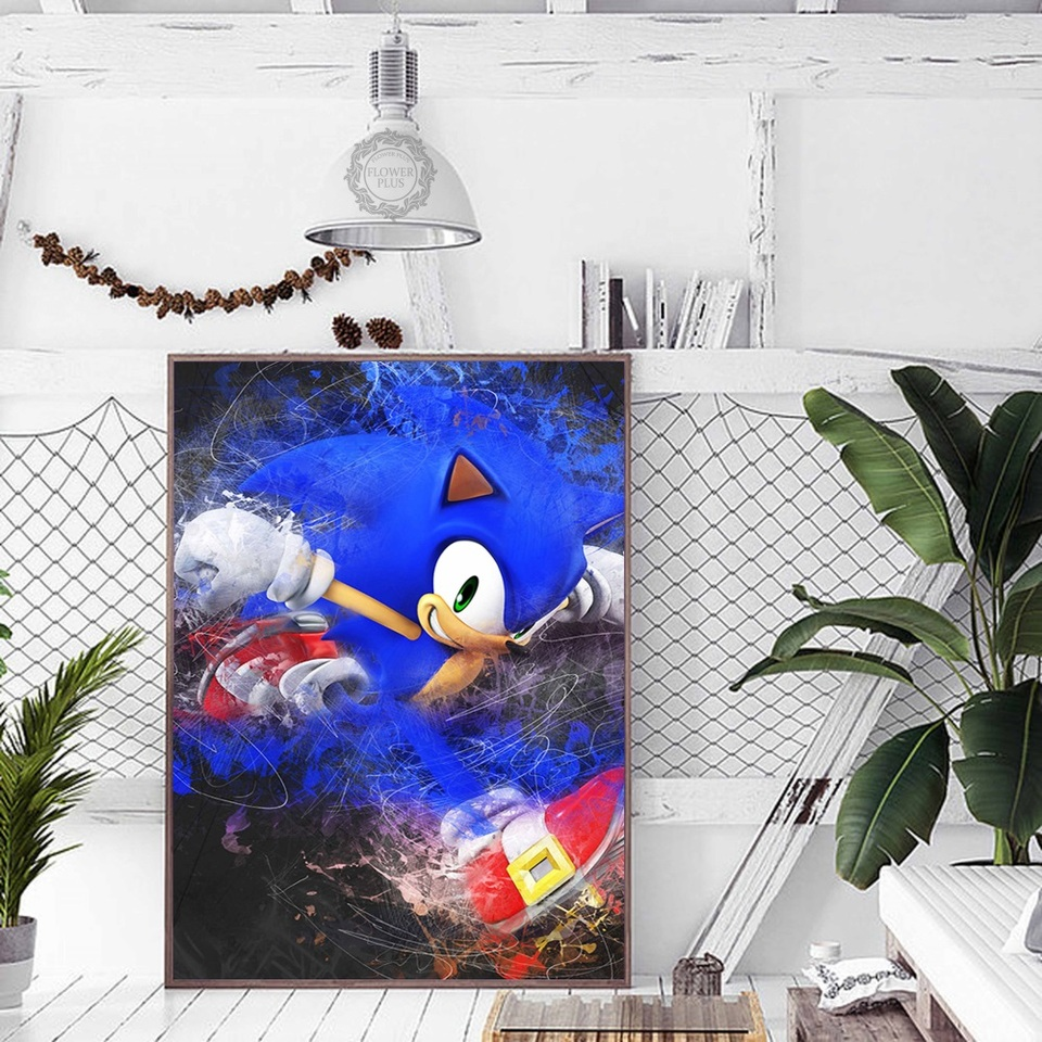 Wall Art Decor Canvas Poster Painting 1 Panel Game Sonic The Hedgehog Music Guitar Frame Home Living Room Hd Printed Pictures Painting Calligraphy Aliexpress