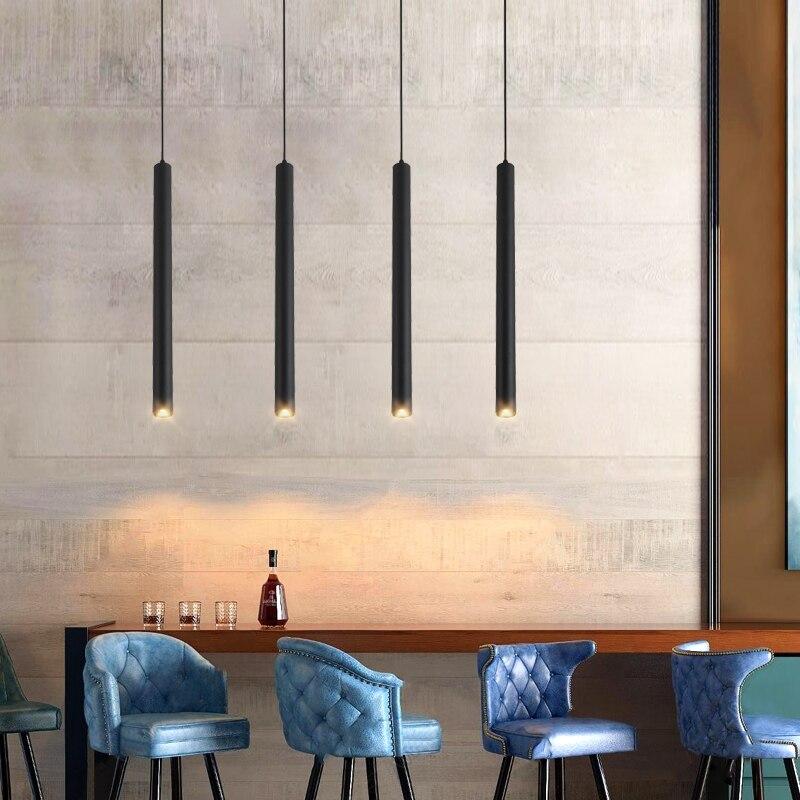 Черная/Золотая светодиодная люстра длинная трубчатая лампа для кухни остров столовая Магазин Бар Украшение цилиндрическая кухонная подвесная люстра|Люстры|   | АлиЭкспресс - Люстры в дом