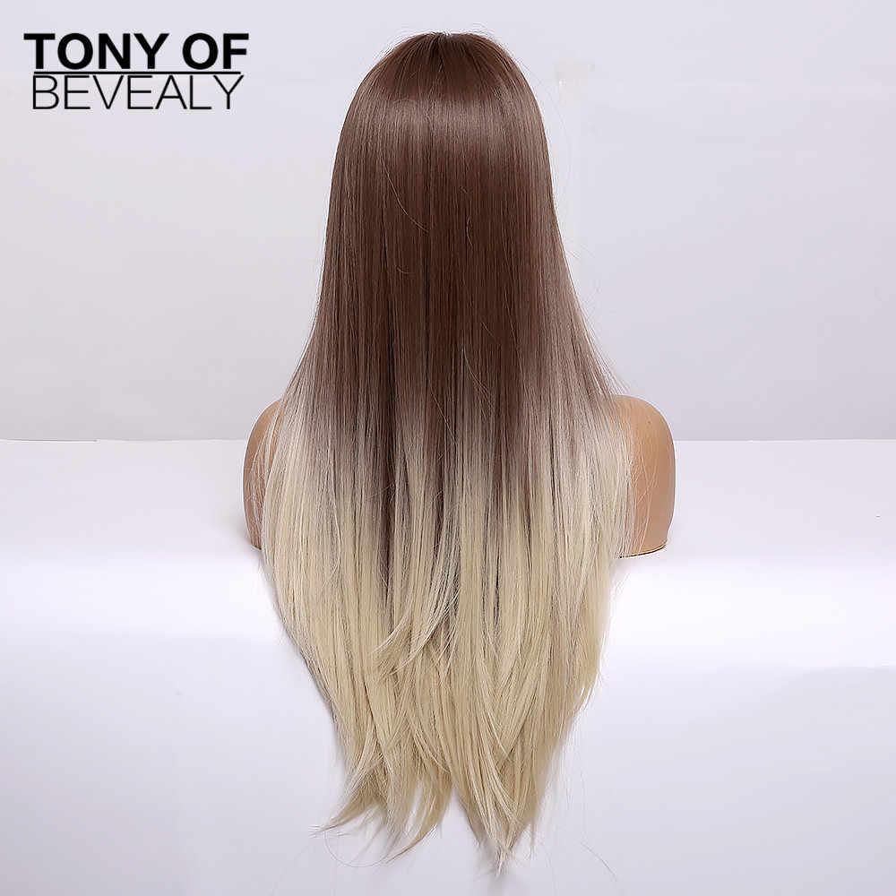 Perucas sintéticas resistentes ao calor da parte média das perucas naturais do cabelo de ombre do marrom reto longo para afro