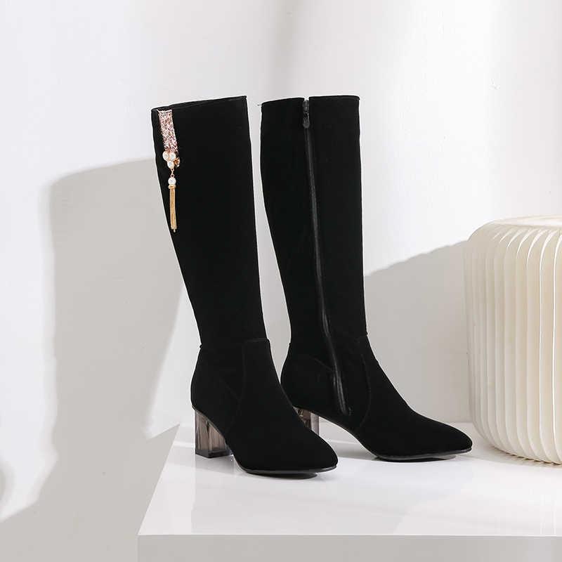 YANSHENGXIN Ayakkabı Kadın Çizmeler Inci Kolye Diz Yüksek Çizmeler Bile Topuk Kadın Ayakkabı Sonbahar Kış Çizmeler İç Zip Bayanlar patik