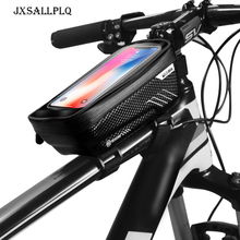 JXSALLPLQ Outdoor Cycling Bicycle Bag 6.2 Inch Mountain Bike Touch Screen Front Beam PU Transparent Rainproof