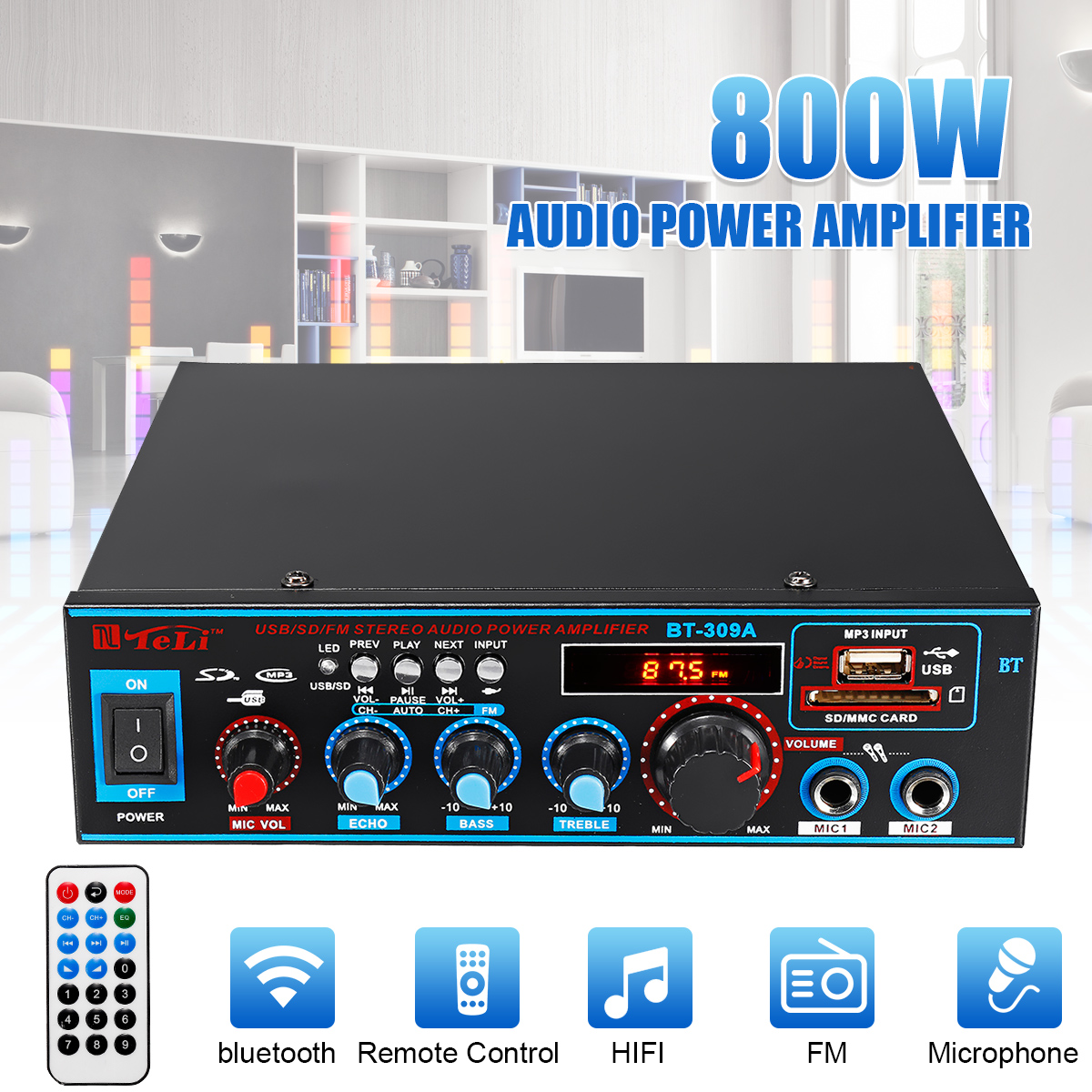800W 600W Car Amplificador HIFI 2 CH Audio Power Amplifier 12/220V Home Theater Amplifier Audio Support FM USB SD/Remote Control