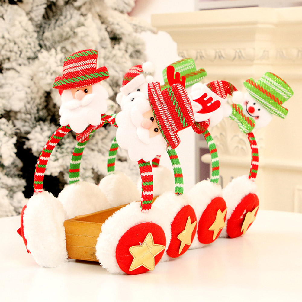 New Merry Christmas Cute Earmuffs Winter Accessories Ear Warmer Plush Santa Claus Headband Ear Muffs For Kids