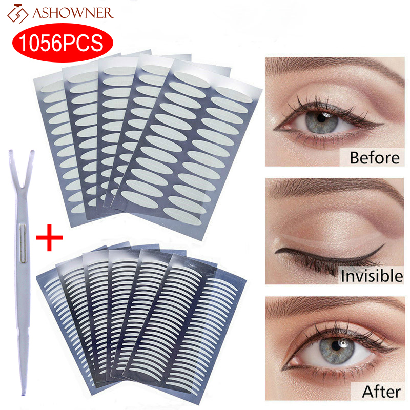 720/1056PC Invisible Double Eyelid Tape Self Adhesive Transparent Eyelid Stickers Slim/Wide Waterproof Fiber Stickers for eyelid