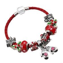 2021 cordão de couro vermelho pulseira presente de natal jóias charme senhora pulseira com grânulo pingente marca pulseira presente entrega direta