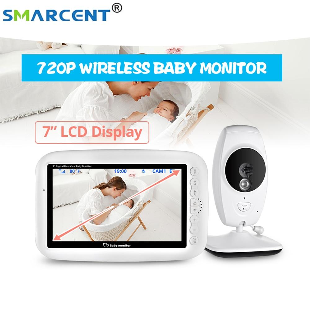 Nouveau 7 pouces 720P HD couleur écran sans fil bébé moniteur avec caméra Version nocturne interphone parler retour berceuse bébé nounou sécurité
