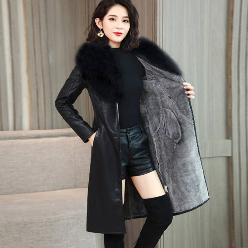 Women Plus Velvet Faux   Leather   Jacket Fashion Big Fur Collar Pu   Leather   Long Coat Female Thick Winter Jacket 2019 New