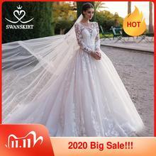 Swanjupes romantique 3D Appliques robe de mariée 2020 encolure dégagée à manches longues robe de bal Illusion robe de mariée robe de Noiva K186