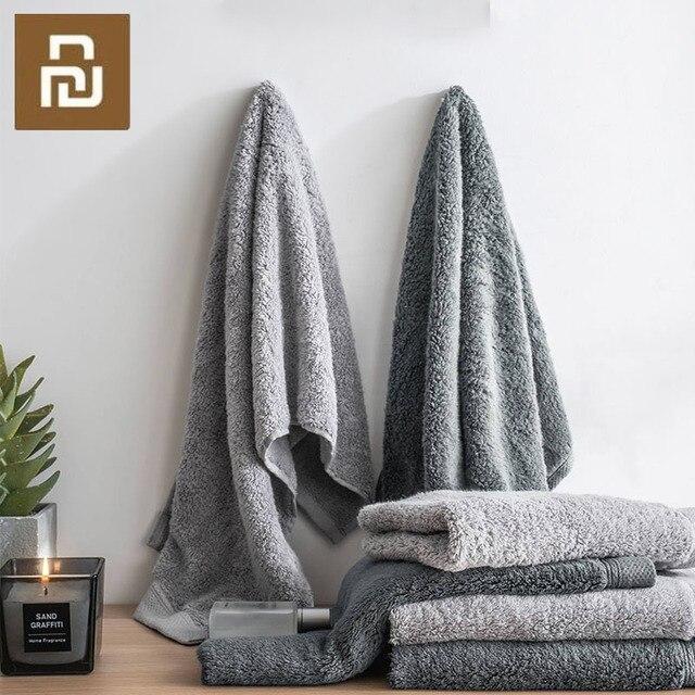 Toalla antibacteriana Youpin COMO LIVING de fibra negra y plateada suave y cómoda toalla absorbente y duradera de 32x76cm