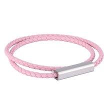 Модные Розовые Кожаные Браслеты Женские магнитные застежки многослойная