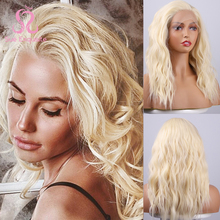 Wigs Natural-Hairline Lace-Front Blond Synthetic Sue Wavy for Women Mid-Length Free-Part