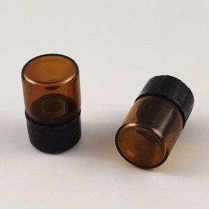 Image 5 - מכירה לוהטת 100x1ml מיני אמבר זכוכית בקבוק עם פתח מפחית & שחור כובע 1/4 dram קטן חיוני בקבוק