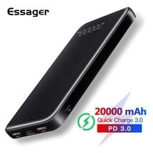 Essager, 20000 мА/ч, зарядное устройство, быстрая зарядка, 3,0 USB C PD, быстрая зарядка, 20000 мА/ч, зарядное устройство для Xiaomi, портативное зарядное устройство, внешний аккумулятор