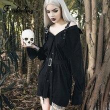 Fitshinling Grunge Gothic Autumn Shirt Dress Women Strap Off Shoulder Long Blouse Female Fashion Harajuku Black Sashes Blusas