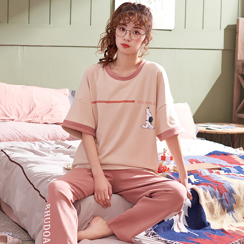 Pajamas Women's Summer Pure Cotton Thin Korean-style Trousers Short Sleeve Air Conditioner Home Wear Two-Piece Set Spring And Su