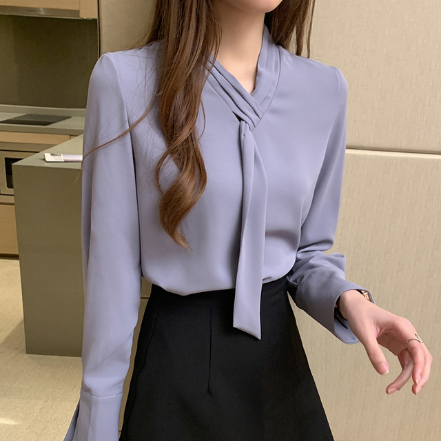 Office Lady Shirts and Blouses Women 2021 Autumn Fashion Bow Shirt Solid Loose Pullover Plus Size Long Sleeve Chiffon Tops 11050 2