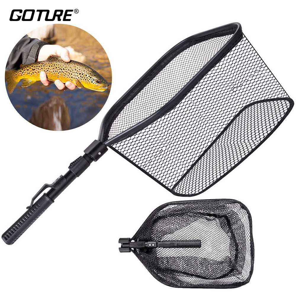 Amiable Goture Folding Portable Fishing Net Aluminum Alloy Fishing Hand Net Landing Net Rubber Coating Network Fishing Accessories 66cm Cheapest Price From Our Site