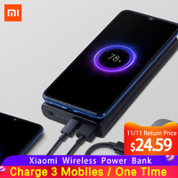 Original Xiaomi Mi Wireless Power Bank 10000mAh Qi Fast Charger PLM11ZM Powerbank External Battery for iPhone Sumsung Mi Phone